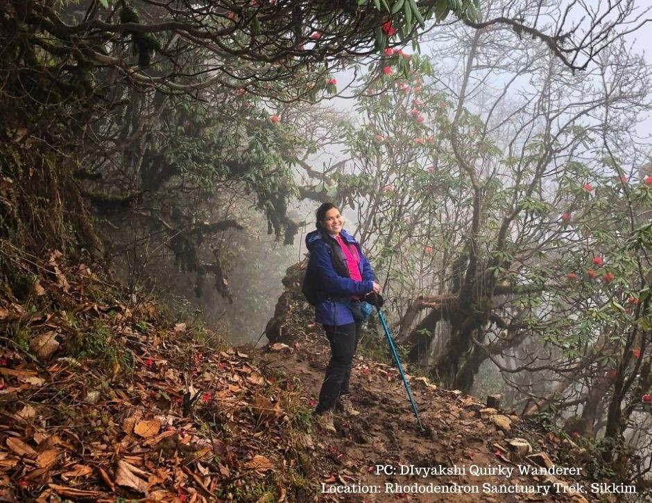 Divyakshi in midst of the Rhododendron forest trek in Barsey, Sikkim