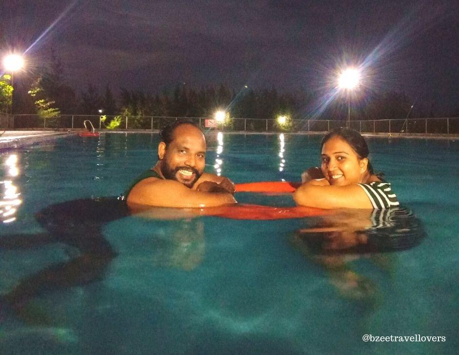 Swimming at the massive pool at Fisherman Village Kelve Palghar