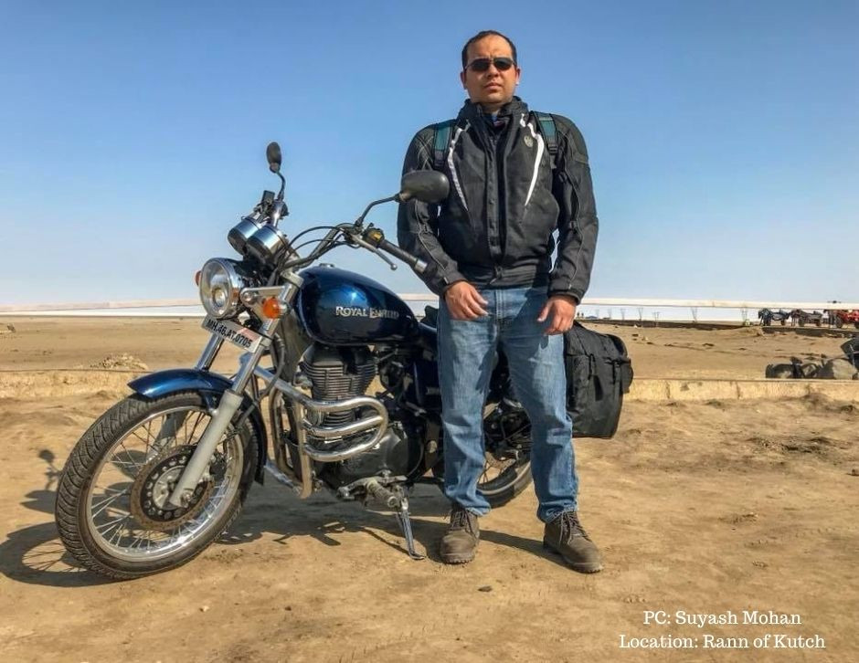Suyash with his bike at Rann of Kutch in Gujarat
