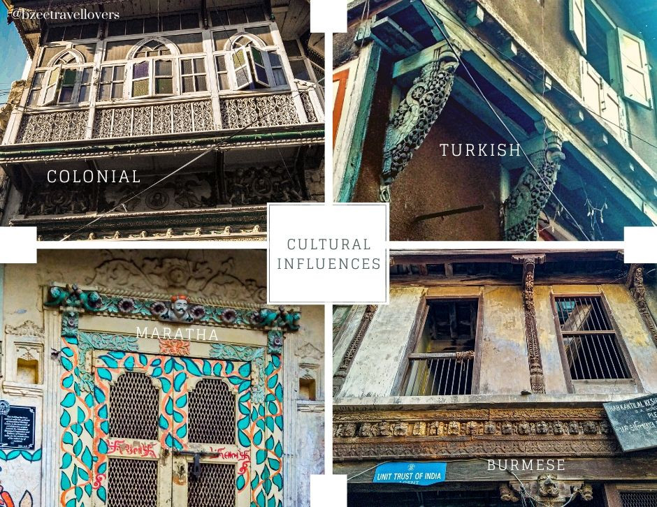 cultural influences colonial, turkish, maratha, burmese architectural styles Ahmedabad Heritage Walk