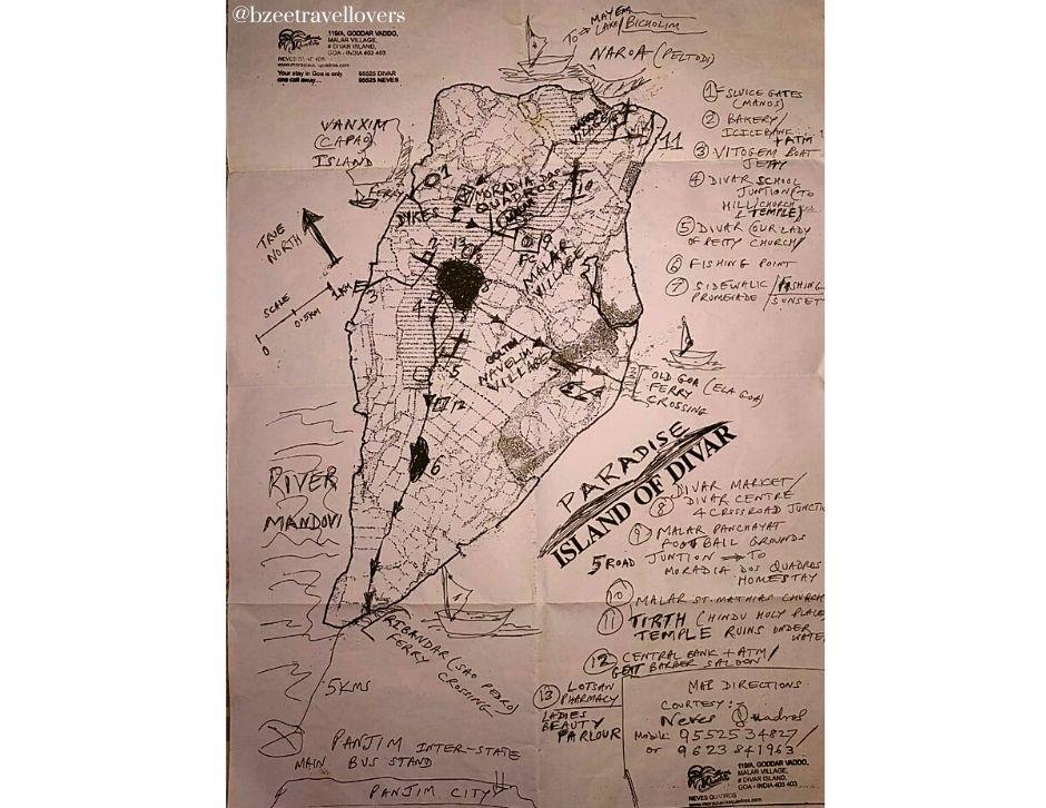 Map of Divar Island Goa