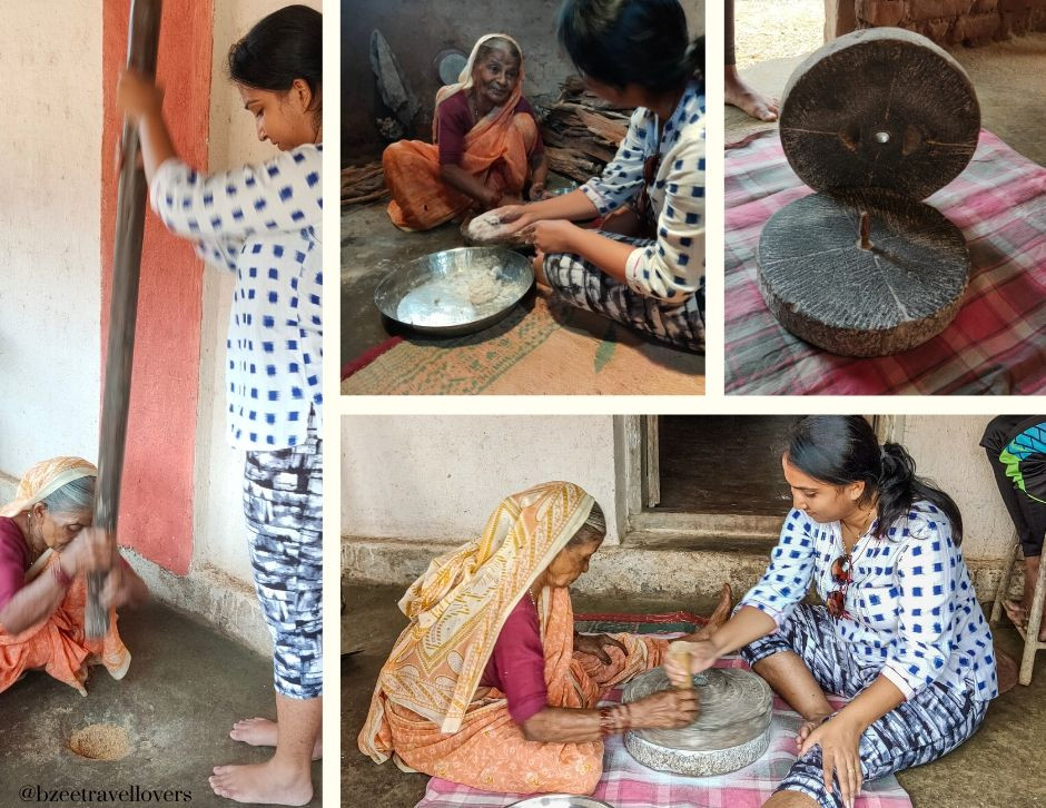 Rice pounding on stone mill Maharashtra