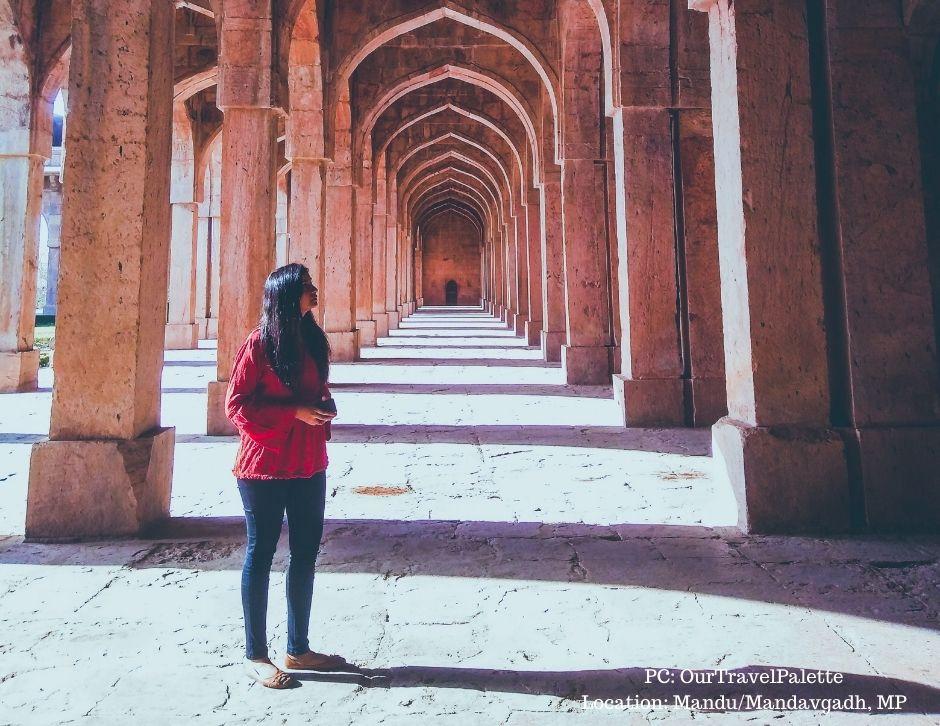 Namita is gazing at the marvellous architecture at Mandu in Madhya Pradesh
