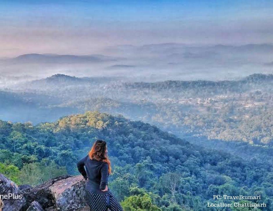 Winnie overlooking an exquisite from a trek vantage point in Chhattisgarh