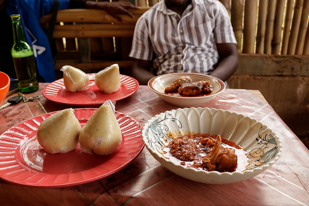 A serving of Banku & Bushmeat for lunch