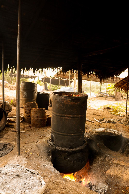 A furnace used to roast Palm Oil seeds