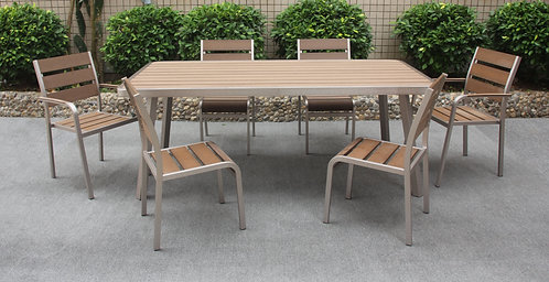 Rugged Outdoor Long Dining set of 7 pieces Made-To-Order 堅固戶外長餐桌椅7件套裝
