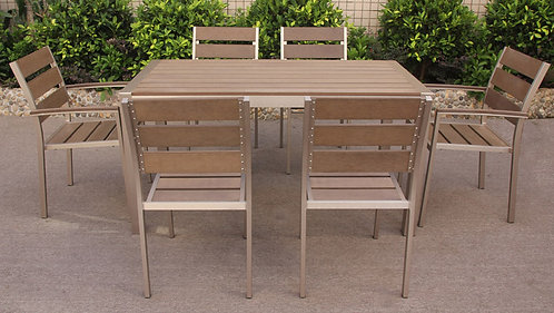 Edge Outdoor Long Dining set of 7 pieces Made-To-Order EDGE戶外長餐桌椅7件套裝