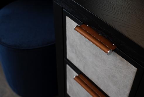 Ledge solid hammered cabinet handle Burnished Brass HS2154