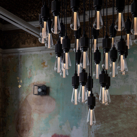 Heavy metal chandelier Crystal bulb
