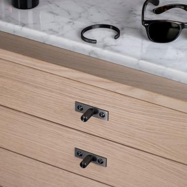 Furniture knob plate linear Gun metal