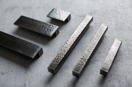 Solid hammered square cabinet handles Burnished nickel