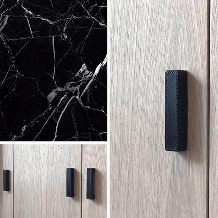 Leather amalfine rectangular D Black Bronze -  project Kwinten Diependaele