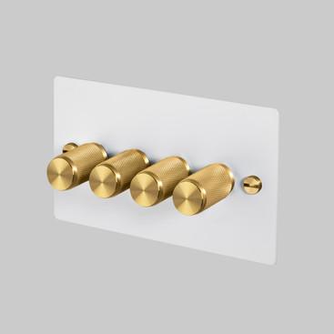 4G Dimmer White-plate Brass