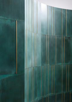 Scomposta & boiserie  verdigris with brass inserts-  Design R&D De Castelli