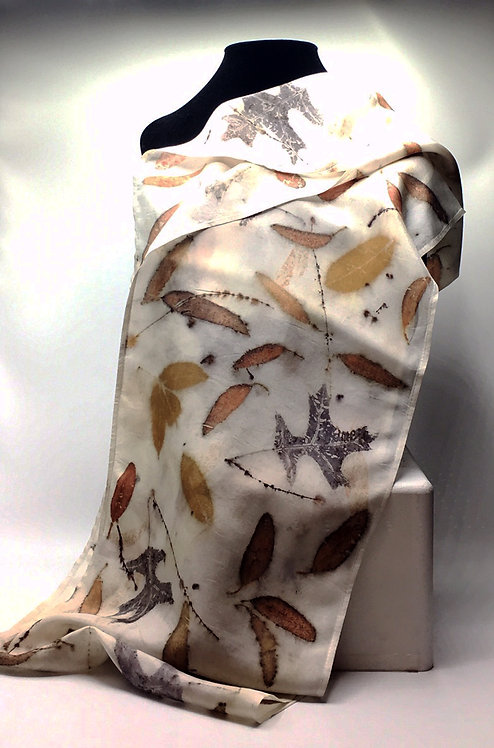 Ann Wood-Obrien-100% silk infinity eco-printed scarf with Alaskan Mountain Ash leaves.