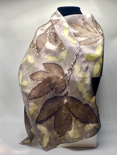 Ann Wood-Obrien-100% silk eco-printed scarf with Alaska Peony and Spirea Leaves