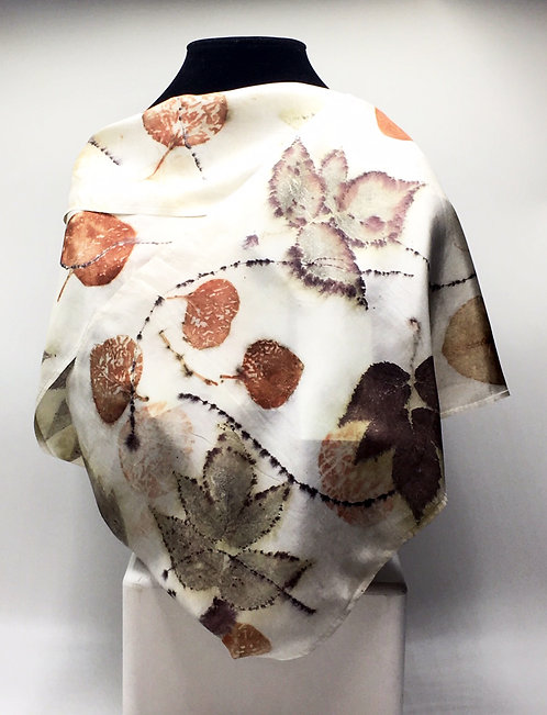 Ann Wood-Obrien-100% silk eco-dyed scarf with Alaskan wild raspberries