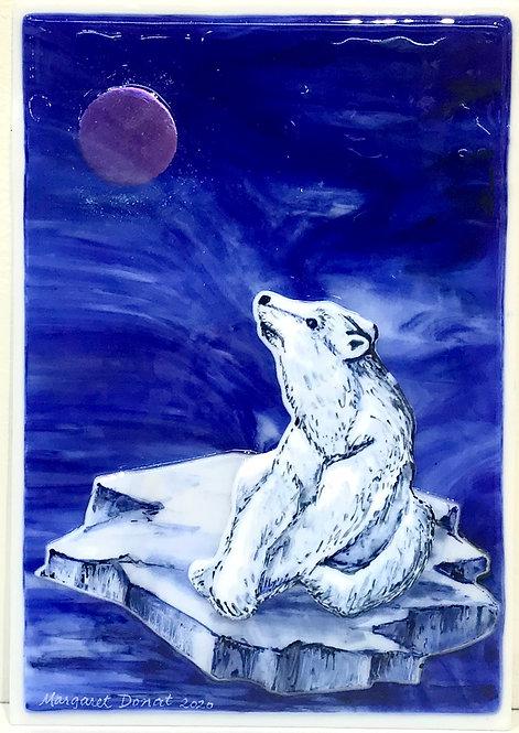 Margaret Donat - Glacier Bear- Glass Wall piece
