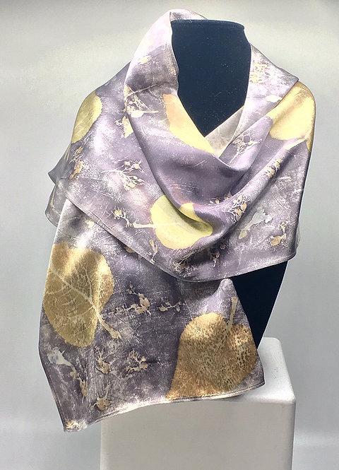 Ann Wood-Obrien- Eco-dyed 100% silk scarf with Alaskan botanicals