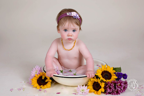 baby milk bath photoshoot