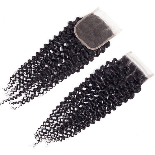"""Curly 4"""" x 4"""" Lace Closure"""
