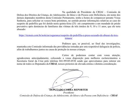 Criai solicita informações sobre caso de abuso de três irmãos na região metropolitana de Curitiba