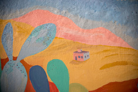 Detail of the mural painted on Errachidia, Morocco.