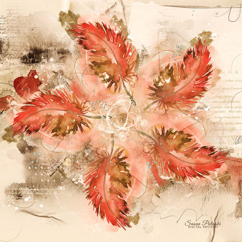 Abstract Floral in Red