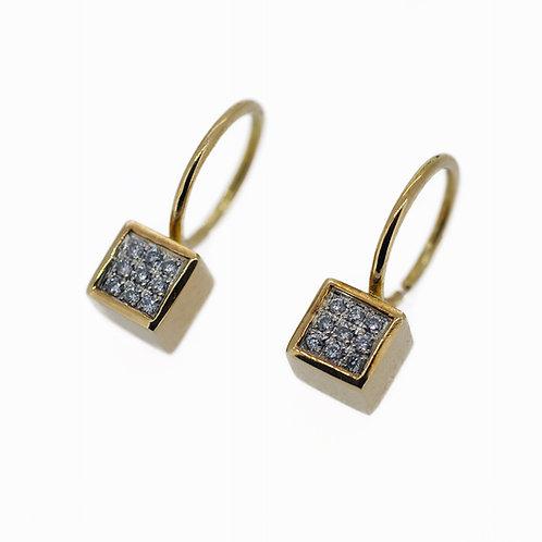 Mini cube golden earrings