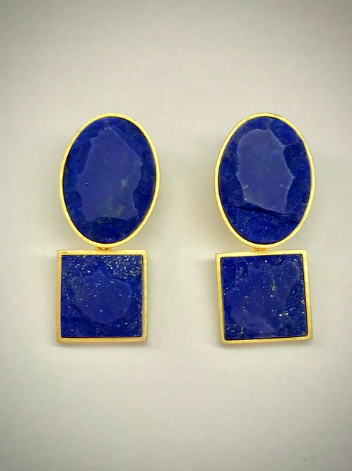 Oval/Square Lapis Earrings