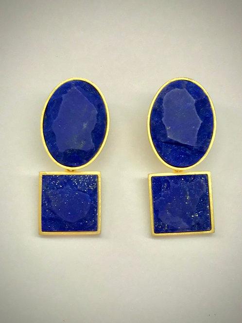 Oval/Square Lapis Earrings