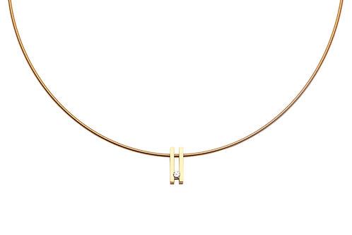 Yellow gold+ 0,09ct diamond + yellow gold spiral chain