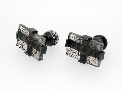 Cufflinks quartz tourmaline