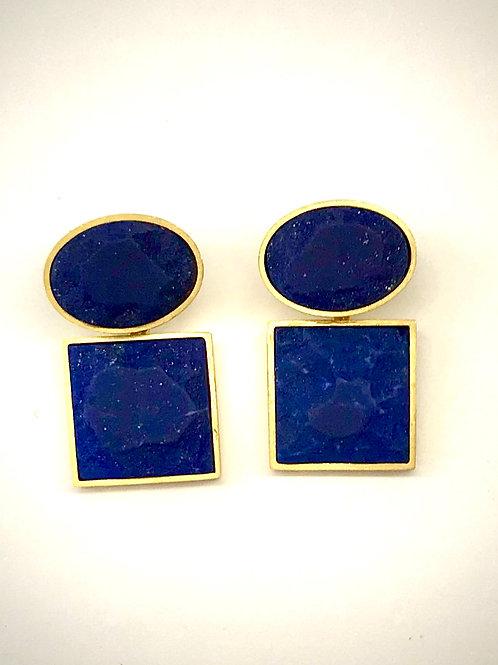 Oval/Square Lapis earrings II