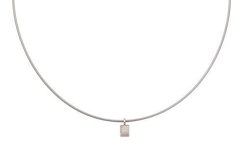 18 krt palladium white gold pendant with 0,06ct diamonds + stainless steel spiral chain