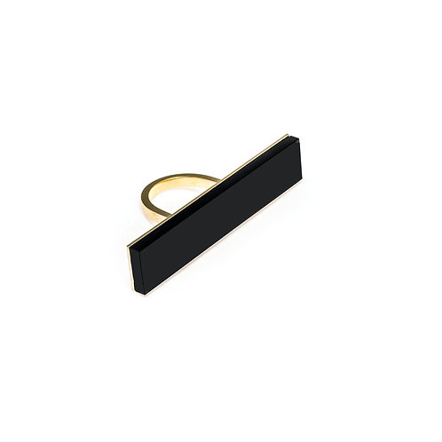 Long Structured Onyx Ring