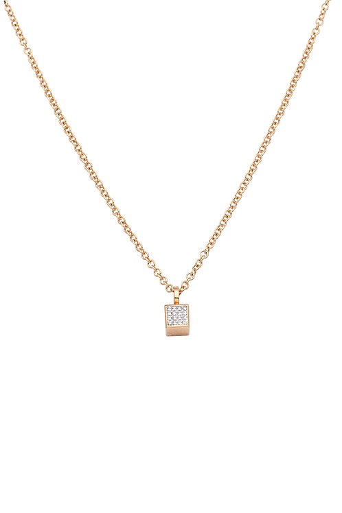 18krt yellow gold pendant with 0,06ct diamonds + 18krt yellow gold anchor chain