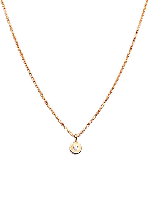 18krt yellow gold pendant with 0,05ct diamond + yellow gold anchor chain