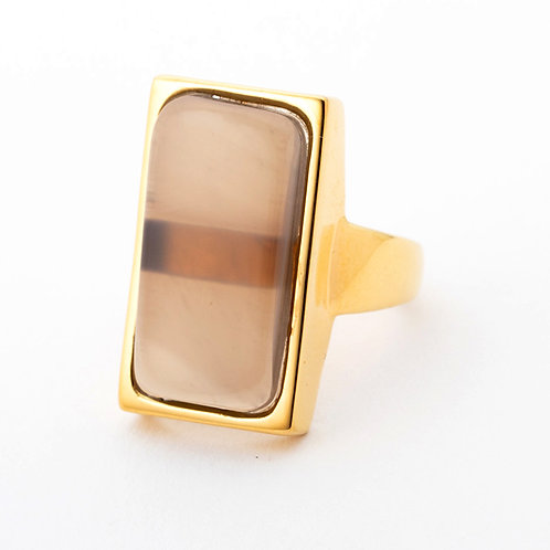 Vartical Stone Ring - GRAYBEIGE