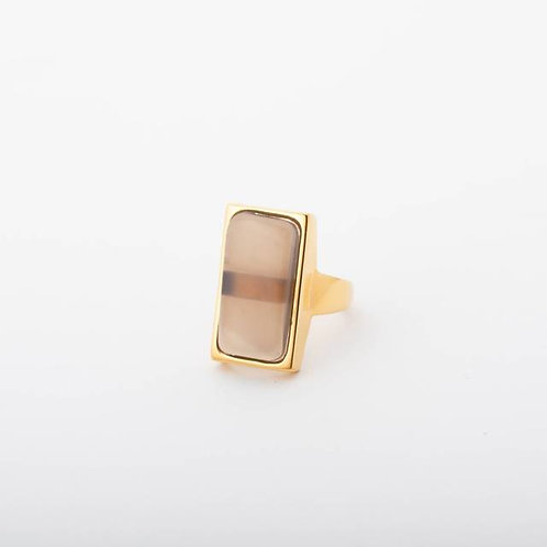 Vartical Stone Ring - GRAYBEIGE