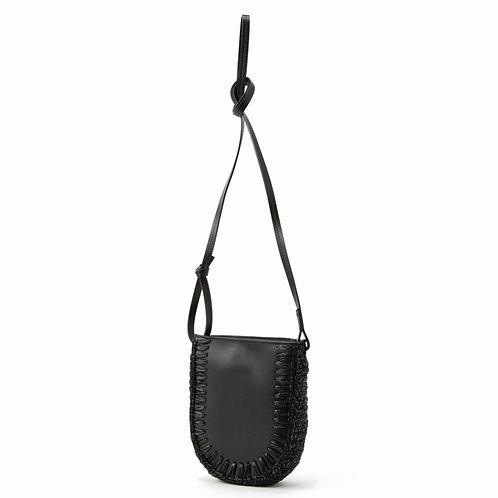 LEATHER CROCHET BAG - BLACK