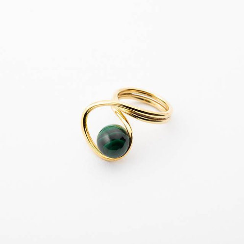 CURVE RING - GREEN