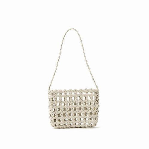 LEATHER MESH POCHETTE - IVORY