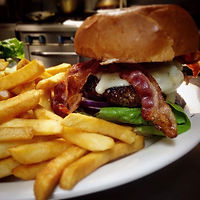 shack bar and grill bacon burger and fries