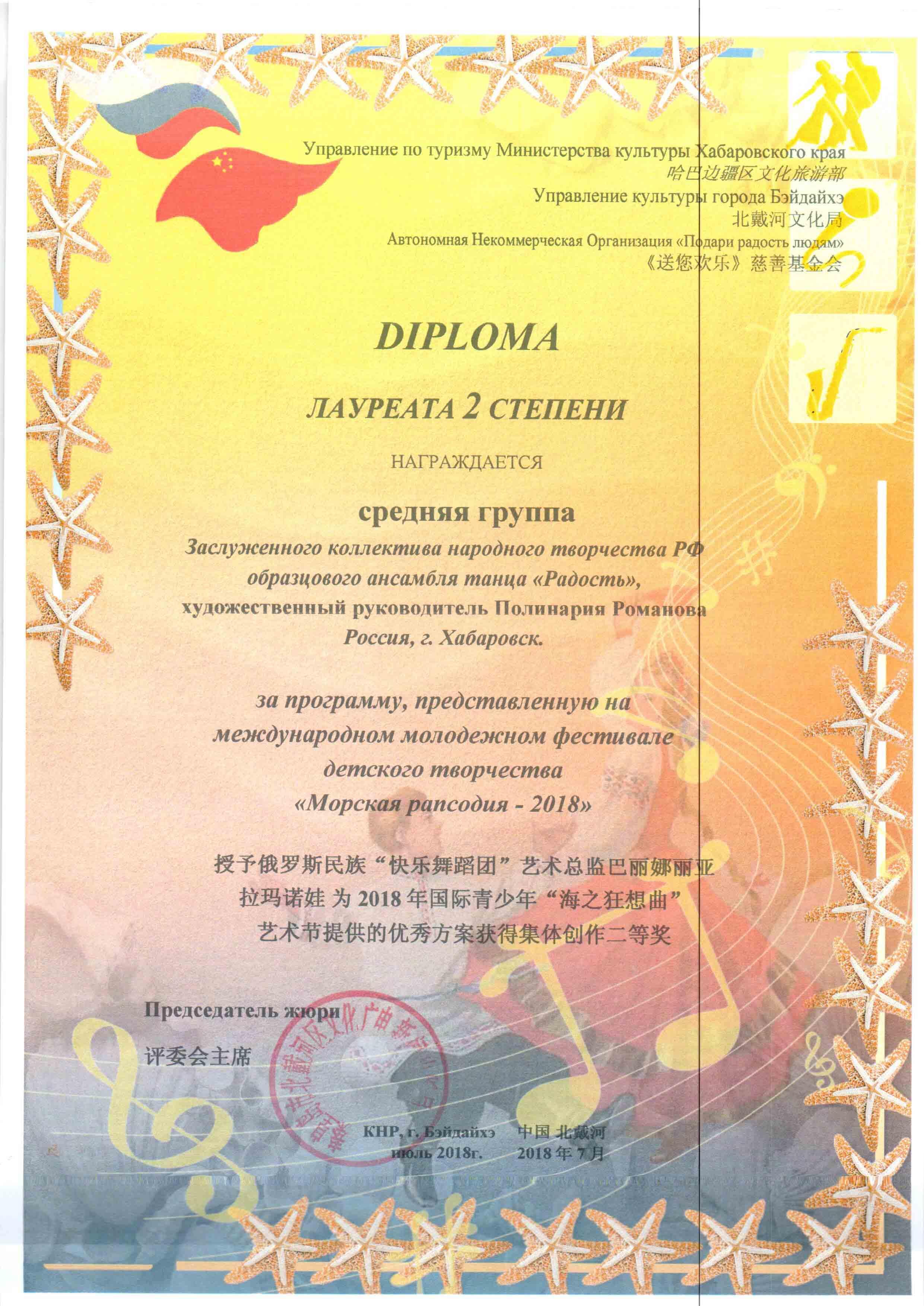 Диплом лауреата 2 степени