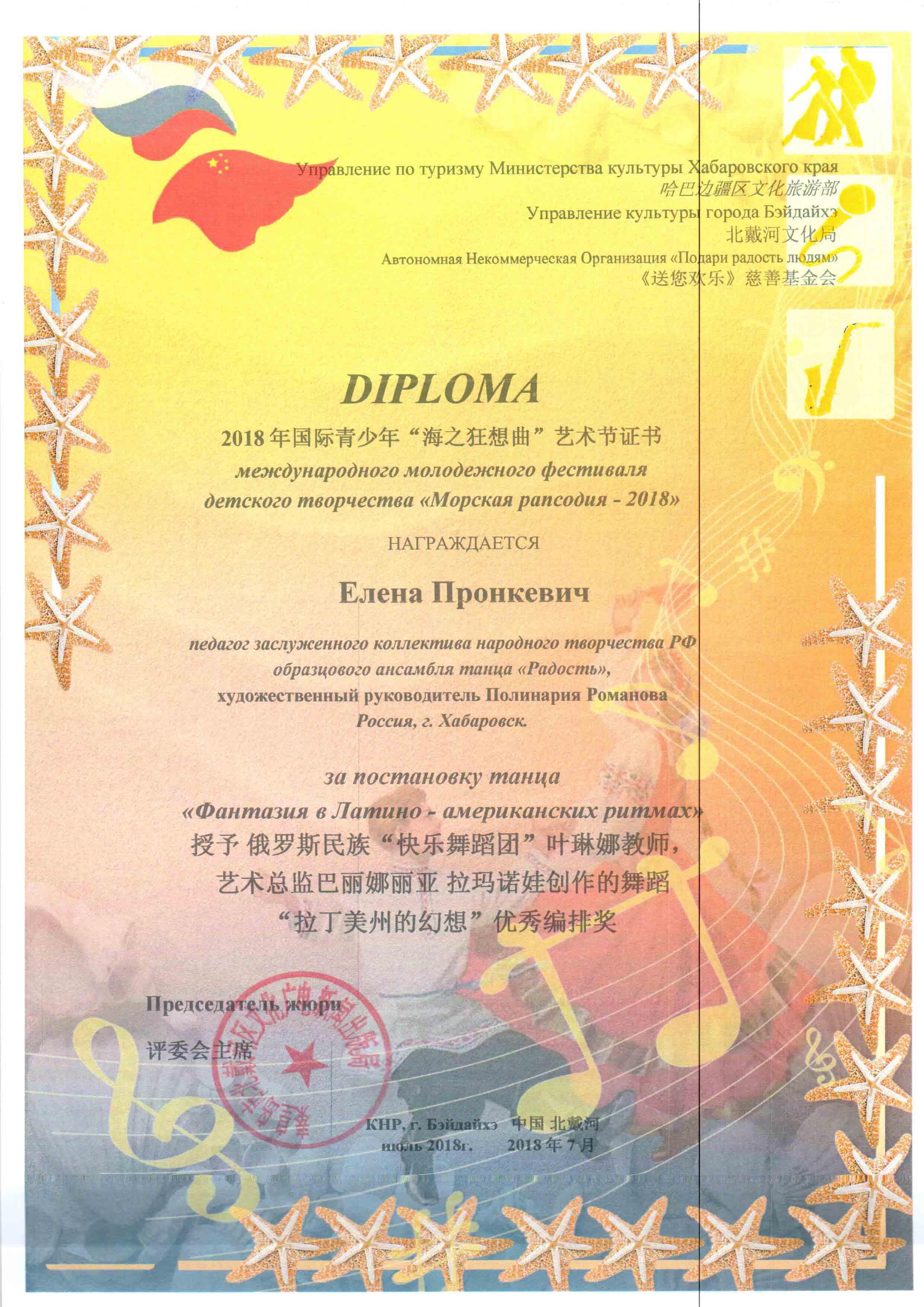 Диплом Елене Пронкевич