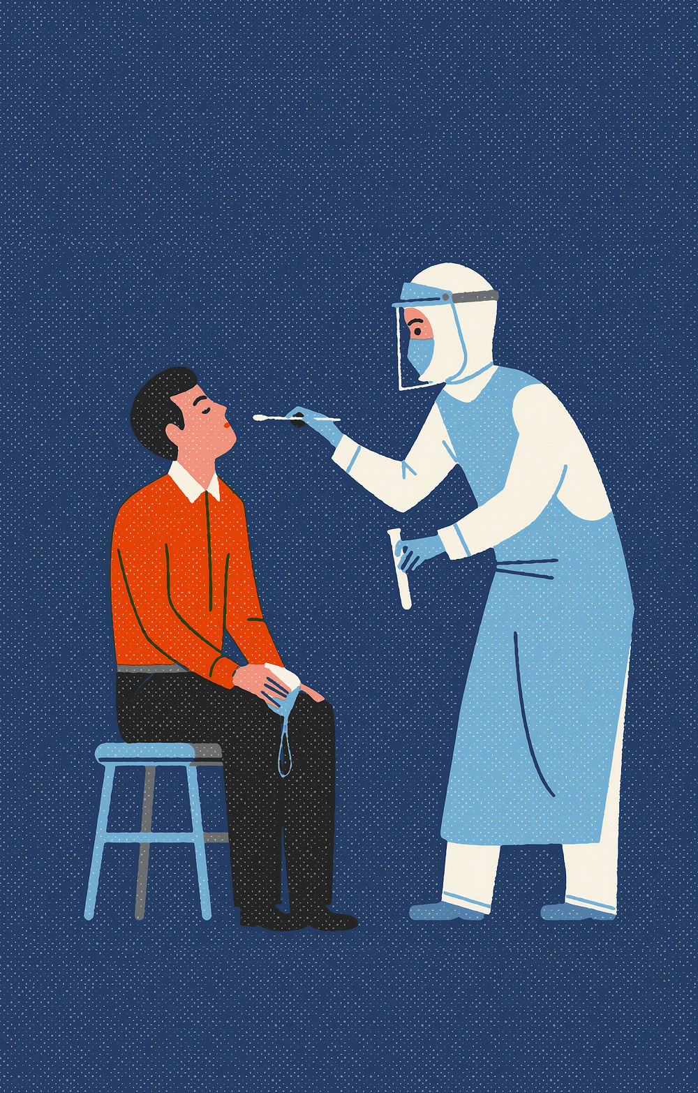 A health worker in PPE taking a nasal swab test of a man seated on a stool