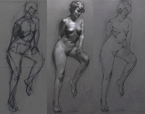 Figure drawing in charcoal and chalk by Sadie Valeri