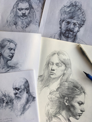 Various portrait drawings by Jacob Hankinson
